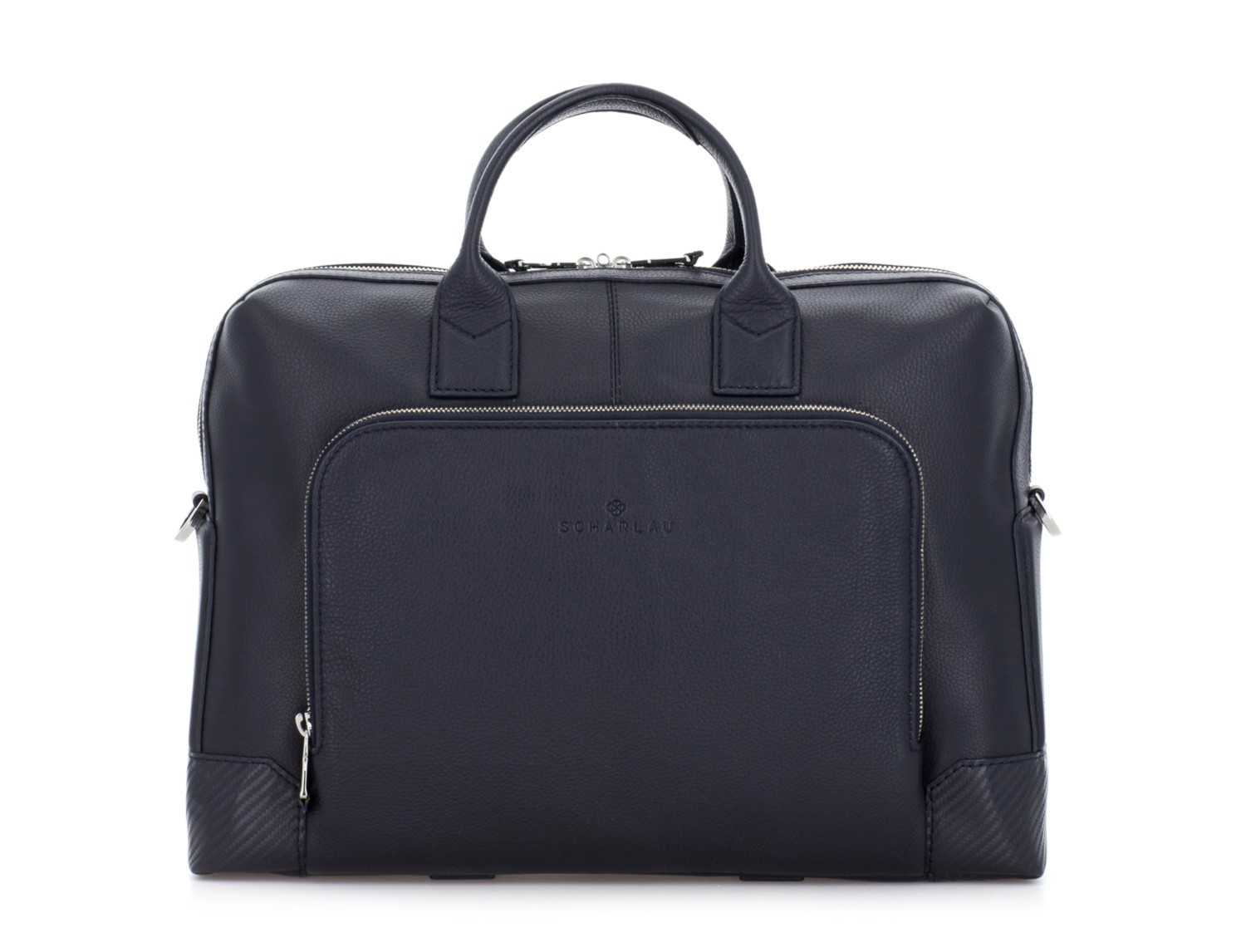 Leather briefbag in blue front