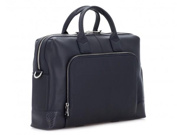 Leather briefbag in blue side