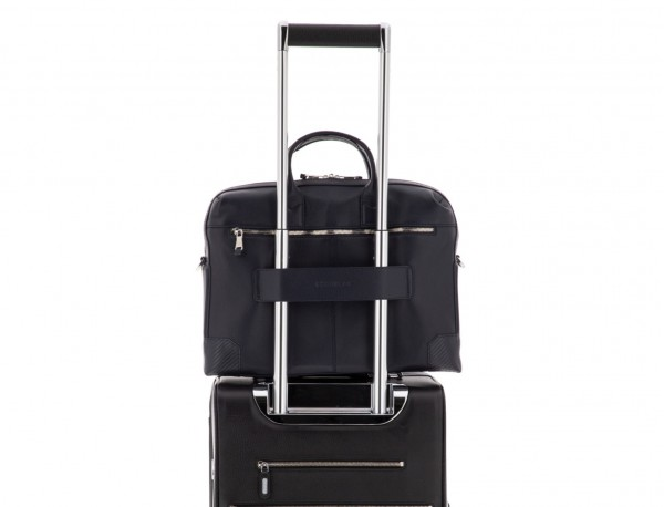 Leather briefbag in blue trolley