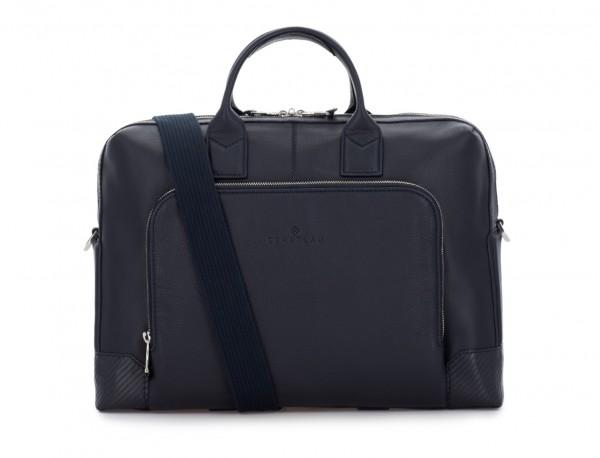 Leather briefbag in blue shoulder