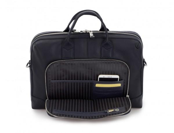 Leather briefbag in blue inside