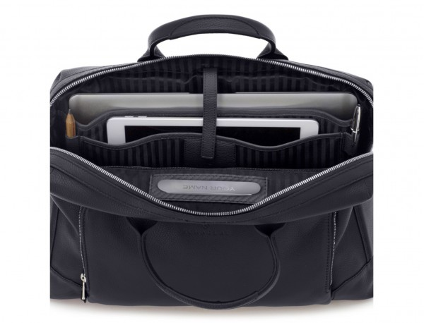 Leather briefbag in blue laptop compartment