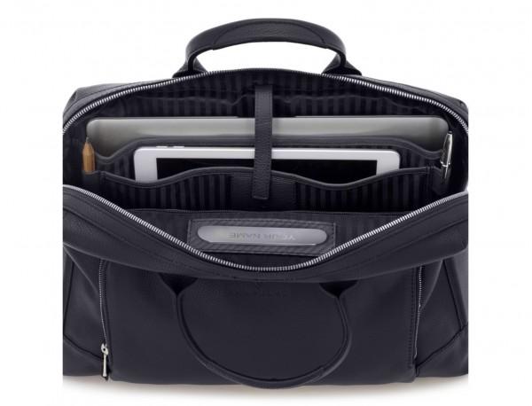 maletín de piel azul ordenador