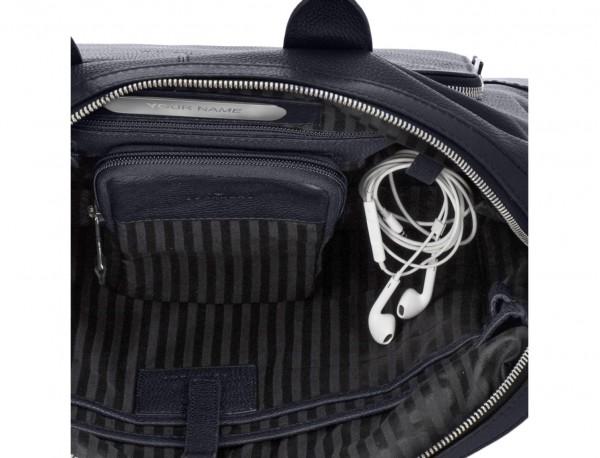 Leather briefbag in blue metal plate