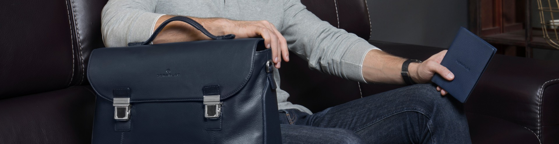 Men's Leather Briefbags with flap High Quality