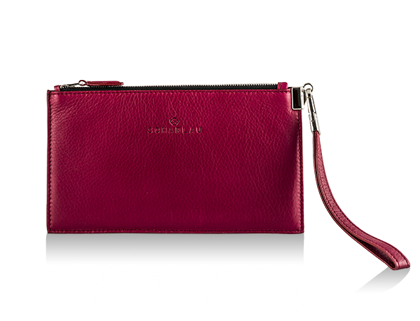 Leather Clutch Berry