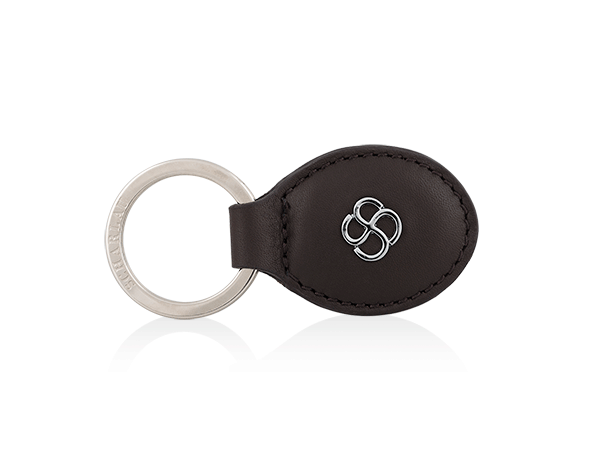 Keyring oval shape brown