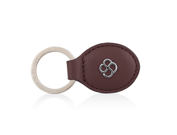 Keyring oval shape burgundy