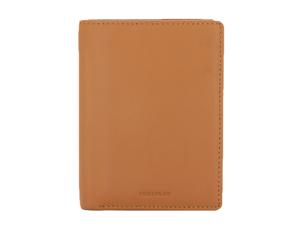 Vertical wallet with coin pocket and 7 cc