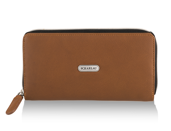Wallet with zipper Cognac