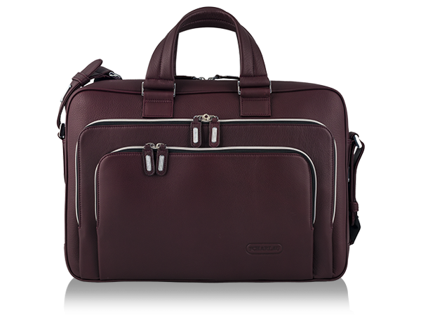Two handle Slim Brief All Leather Burgundy